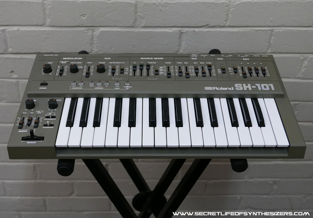 Roland SH-101 synthesiser front panel in grey