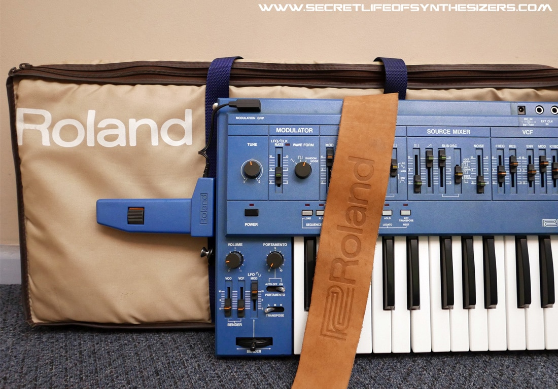 Roland SH-101 synthesizer in blue