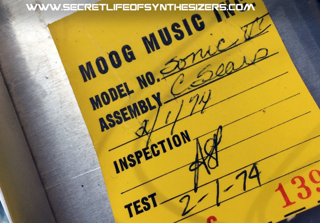Moog Sonic Six inspection slip